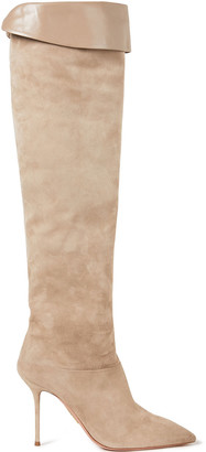 Aquazzura Lancaster 95 Leather-trimmed Suede Knee Boots