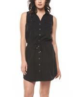Black Tie-Front Button-Up Dress