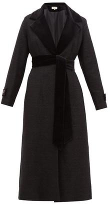 Beulah - Harita Velvet-lapel Tweed Coat - Womens - Black