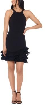 Betsy & Adam Ruffled-Hem Halter Dress