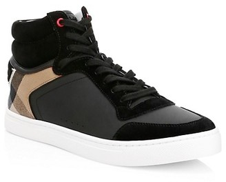 Burberry Reeth Patchwork High-Top Sneakers
