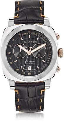 Trussardi 1911 Stainlees Steel W/Croco Leather Strap Men's Chronograph Watch