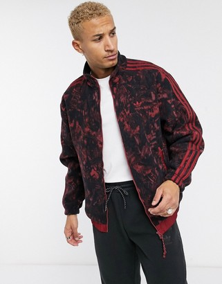 adidas tech fleece jacket with all over print and reflective details tech pack-Red