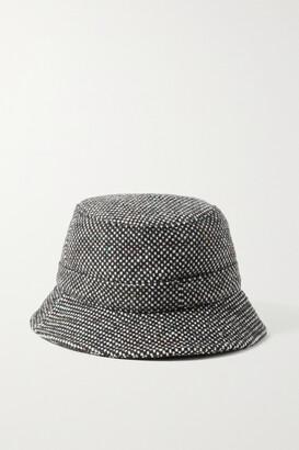 Gabriela Hearst Checked Cashmere-tweed Bucket Hat - Black