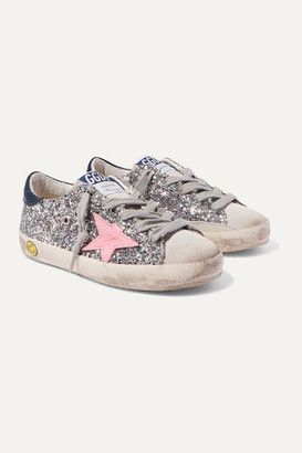 Golden Goose Kids - Size 28 - 35 Superstar Distressed Glittered Leather And Suede Sneakers