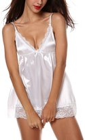 Happy Co. Happy&co Women's Sexy Lingerie Enchanting Satin Chemise Strap Babydolls -4XL