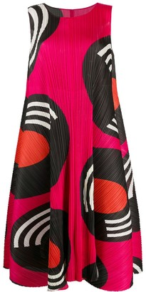 Pleats Please Issey Miyake Micro-Pleated Abstract Print Midi Dress