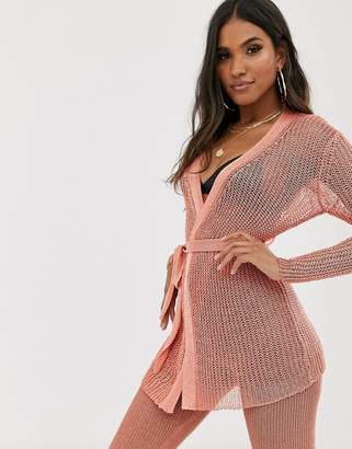 Sorelle UK knitted shimmer tie front longline cardi and wide leg trouser co-ord in pink