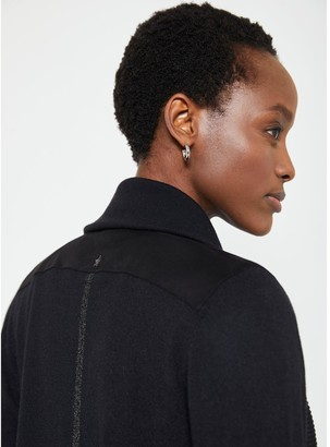 Mint Velvet Zip Collar Short Ottoman Cardigan - Black