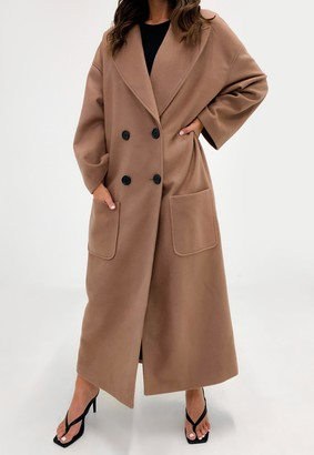 Missguided Petite Camel Oversized Formal Maxi Coat
