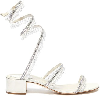 Rene Caovilla 'Cleo' chandelier strass coil anklet satin sandals
