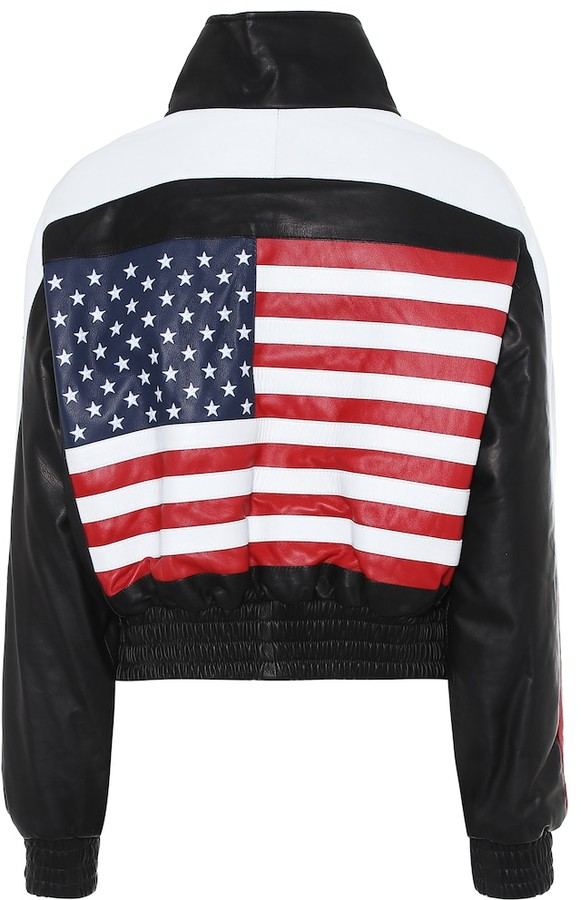 Amiri Appliqued leather bomber jacket