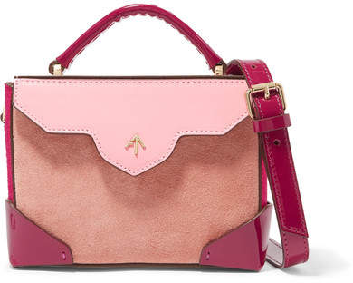 Atelier MANU Bold Color-block Suede And Leather Shoulder Bag - Pink