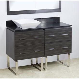 "American Imaginations 48"" Single Modern Bathroom Vanity Set Hardware Finish: Brushed Nickel"