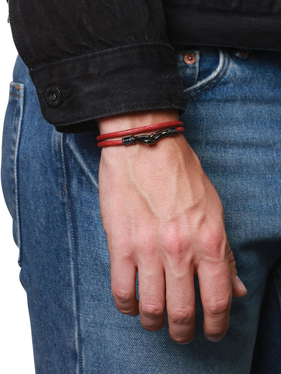 Nialaya Jewelry - Men'S Red Double-Wrap Leather Bracelet With Black Hook Lock