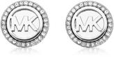Michael Kors Logo Silvertone Stainless Steel Stud Earrings