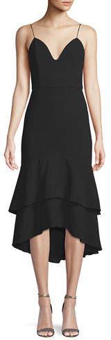 Alice + Olivia Amina Sleeveless Flounce Midi Dress