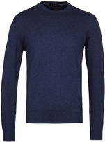 Hackett Navy Marl Pima Cotton Crew Neck Sweater