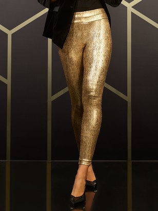 New York & Co. Petite Whitney High-Waisted Pull-On Slim-Leg Pant - Gold