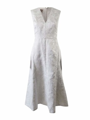 Anne Klein Women's Metallic Jacquard Seamed Fit and Flare