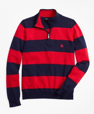 Brooks Brothers Boys Cotton Rugby Stripe Half-Zip Sweater