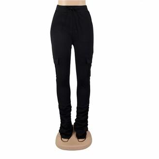 Generic Brands GenericBrands Women's Cargo Pants Leggings Skinny Joggers Soft Comfortable Elastic Micro-Flared Bottom Trouser Black