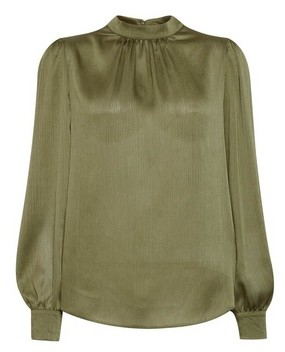 Dorothy Perkins Womens **Billie & Blossom Khaki Long Sleeve Satin Top, Khaki