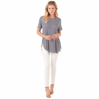 Mud Pie Women's Rayon Spandex Tucker Jersey Short Sleeve Tunic Navy and White Stripe (Medium/Large)