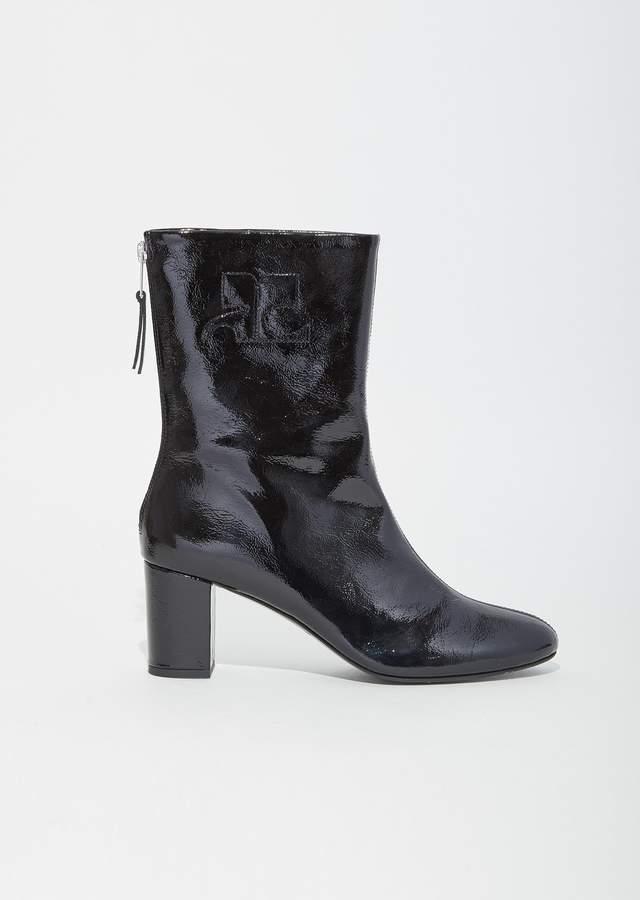 Courreges Vinyl Leather Logo Ankle Boots Black