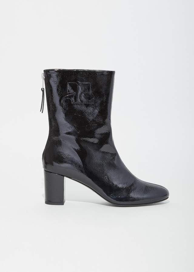 Courreges Vinyl Leather Logo Ankle Boots