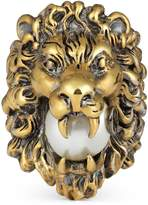 Gucci Lion head ring with glass pearl