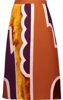 Roksanda Takuya Paneled Velvet And Silk-Blend Twill Midi Skirt