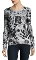 Lord & Taylor Floral Print Cashmere Sweater