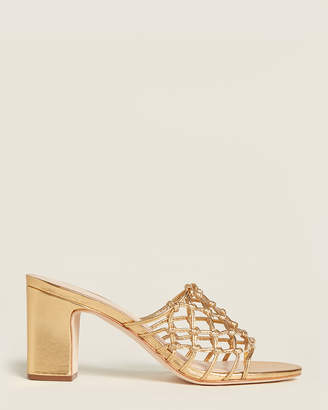 Loeffler Randall Gold Tyler Caged Slide Sandals