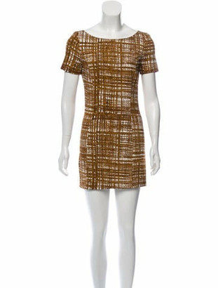 Prada Abstract Print Mini Dress Brown
