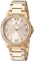 Titan Women's 9955WM01 Purple Analog Display Quartz Rose Gold Watch