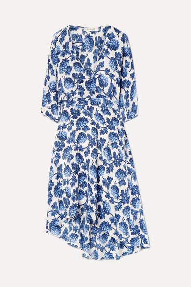 Diane von Furstenberg Eloise Asymmetric Printed Silk Crepe De Chine Wrap Dress - Blue