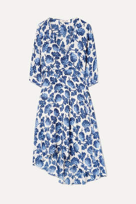 Diane von Furstenberg Eloise Asymmetric Printed Silk Crepe De Chine Wrap Dress - Blue