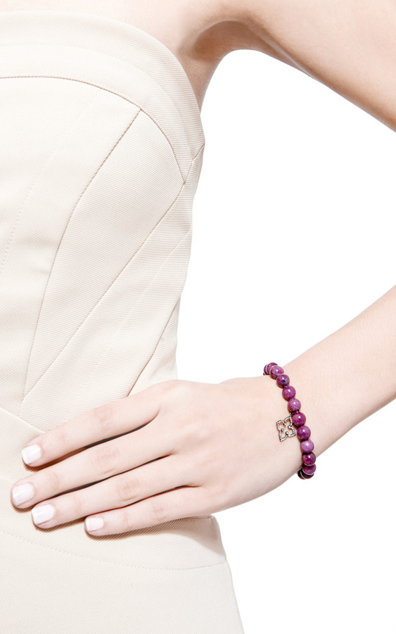 Sydney Evan Diamond Moroccan Flower Charm Beaded Bracelet