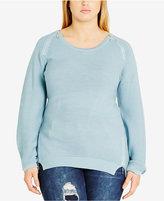 City Chic Trendy Plus Size Zipper-Trim Sweater