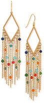 Lauren Ralph Lauren Gold-Tone Multi-Stone Fringe Chandelier Earrings