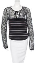 Herve Leger Lace-Accented Knit Top