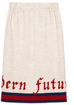 Gucci Embroidered tweed pencil skirt