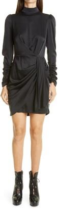 Zimmermann Ladybeetle Drape Long Sleeve Stretch Silk Minidress