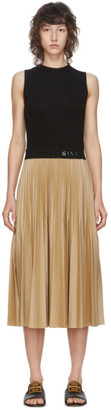 Givenchy Black and Beige Pleated Mid-Length Dress