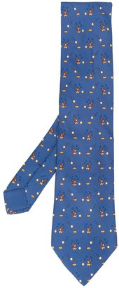 Hermes Pre-Owned 2000's rabbits, eggs and stars printed tie