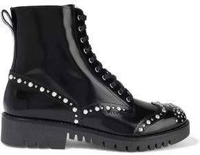 McQ Bess Studded Glossed-leather Ankle Boots