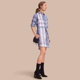 Burberry Tie-waist Check Cotton Shirt Dress