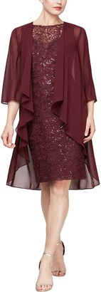 Slny Embroidered Sequin Lace Midi 2-Piece Cape & Dress Set