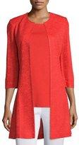 Misook 3/4-Sleeve Long Textured Jacket, Plus Size